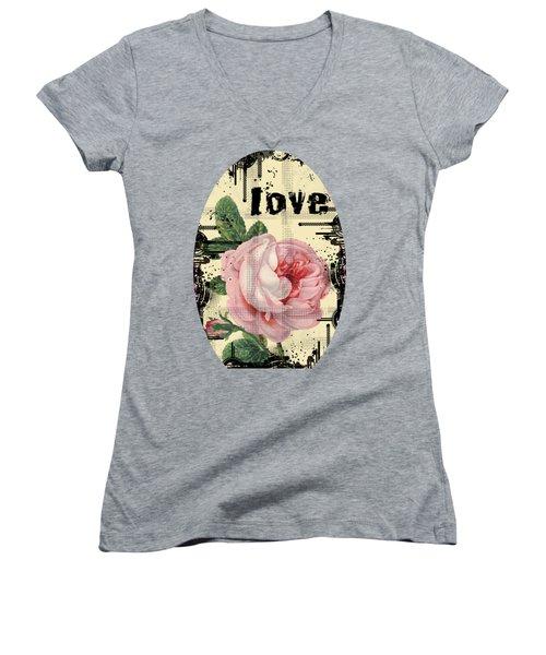 Love Grunge Rose Women's V-Neck T-Shirt (Junior Cut) by Robert G Kernodle