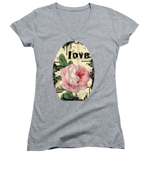 Love Grunge Rose Women's V-Neck (Athletic Fit)