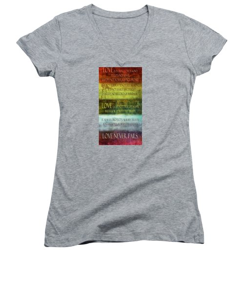 Women's V-Neck T-Shirt (Junior Cut) featuring the digital art Love Is  by Angelina Vick
