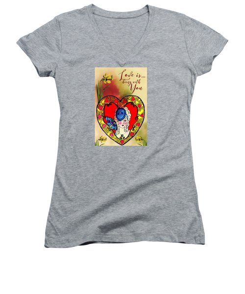 Love Is Women's V-Neck T-Shirt (Junior Cut) by Diana Boyd