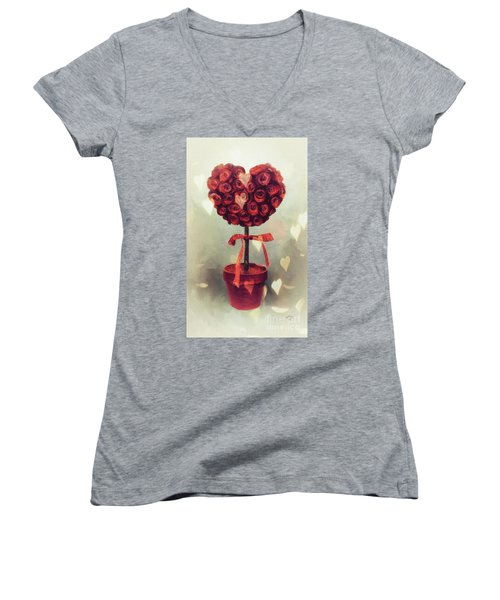 Women's V-Neck T-Shirt (Junior Cut) featuring the digital art Love Is In The Air by Lois Bryan