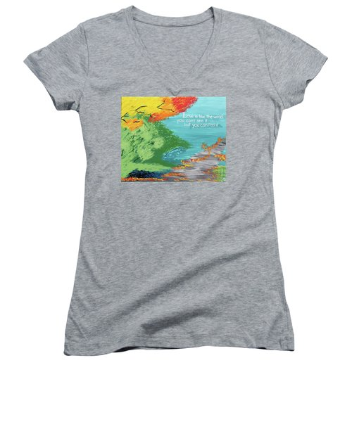 Love Like The Wind Women's V-Neck T-Shirt (Junior Cut) by Cyrionna The Cyerial Artist