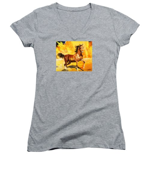 Women's V-Neck T-Shirt (Junior Cut) featuring the painting Lone Mustang by Al Brown