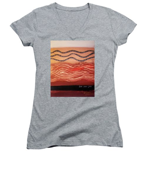 Women's V-Neck T-Shirt featuring the painting Love Never Fails by Winsome Gunning