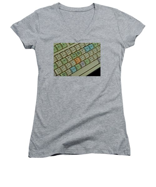 Love Puzzle Keyboard Women's V-Neck