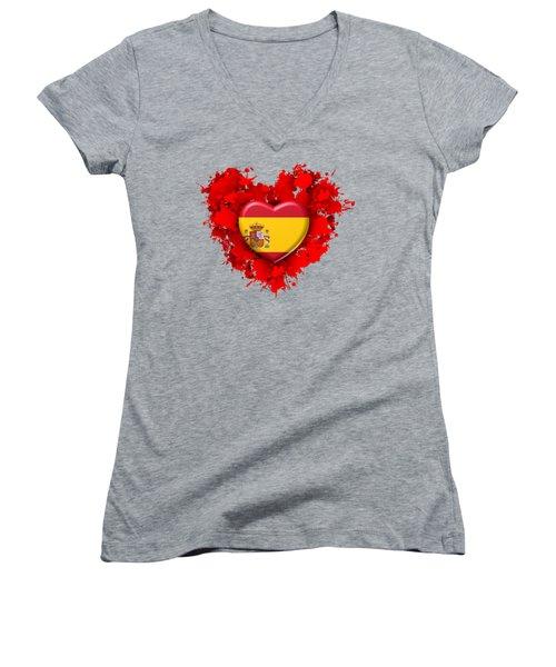 Love Spain 1 Women's V-Neck T-Shirt (Junior Cut) by Alberto RuiZ