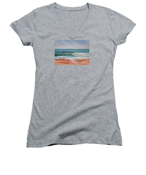 Love The Surf Women's V-Neck T-Shirt (Junior Cut) by Trina Teele