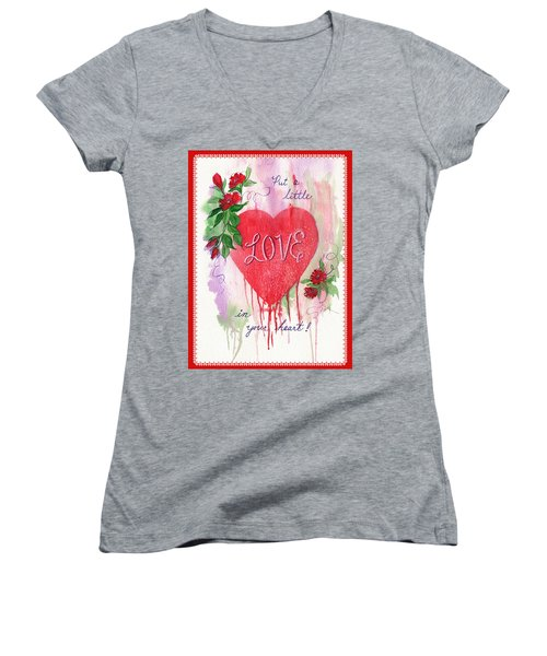 Women's V-Neck T-Shirt (Junior Cut) featuring the painting Love Valentine by Marilyn Smith