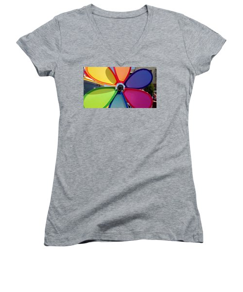 Love Wins Women's V-Neck T-Shirt (Junior Cut) by Claudia Goodell