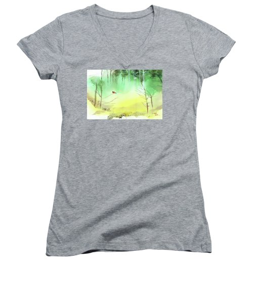 Women's V-Neck T-Shirt (Junior Cut) featuring the painting Lovebirds 3 by Anil Nene