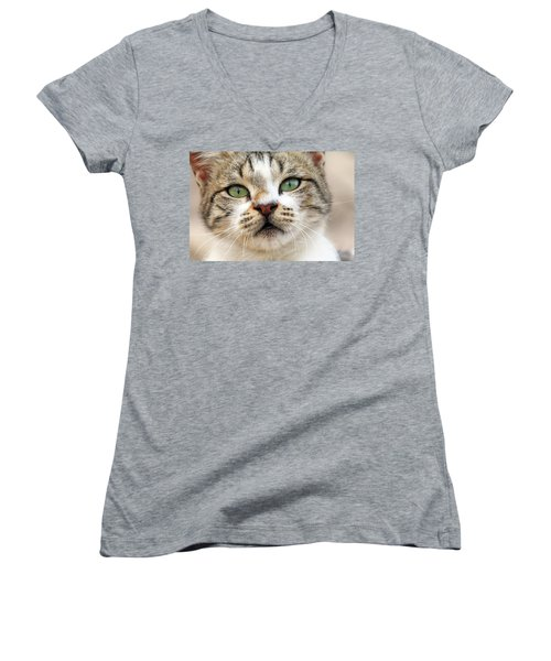 Women's V-Neck T-Shirt (Junior Cut) featuring the photograph Loved by Munir Alawi