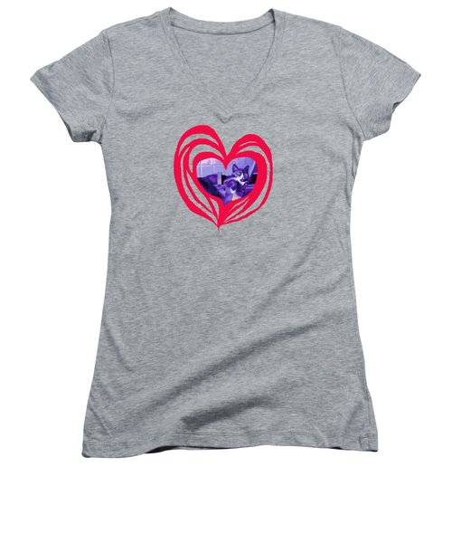 Loveheart Kitty Women's V-Neck (Athletic Fit)