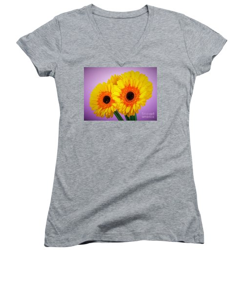 Lovely And Beautiful - Gerbera Daisies Women's V-Neck T-Shirt (Junior Cut) by Ray Shrewsberry
