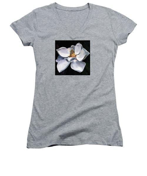 Women's V-Neck T-Shirt (Junior Cut) featuring the painting Lovely In White - Painting Magnolia Flower  by Linda Apple