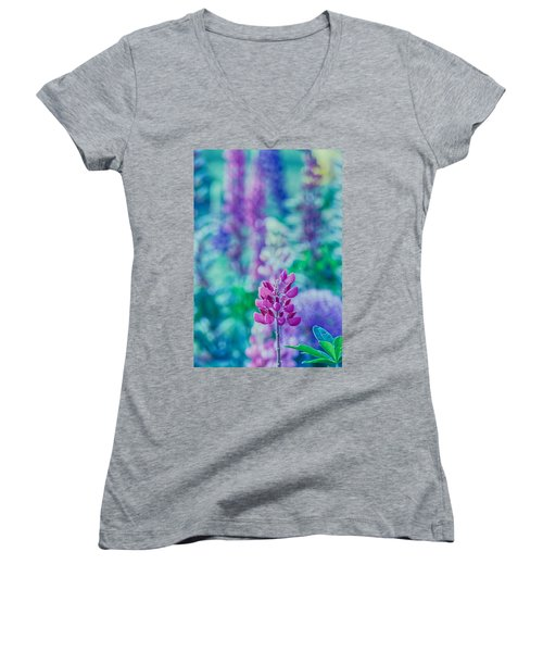Lovely Lupine Women's V-Neck T-Shirt (Junior Cut) by Bonnie Bruno