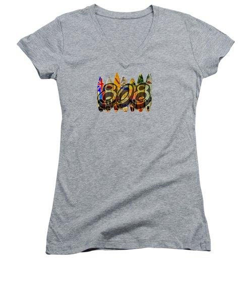 Women's V-Neck T-Shirt (Junior Cut) featuring the photograph Lovin' 808 by DJ Florek