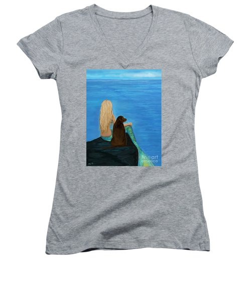 Women's V-Neck T-Shirt featuring the painting Loving Lab Loyalty by Leslie Allen