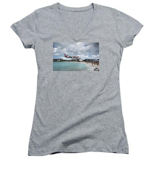 Low Landing At Sonesta Maho Beach Women's V-Neck T-Shirt (Junior Cut) by Nick Mares