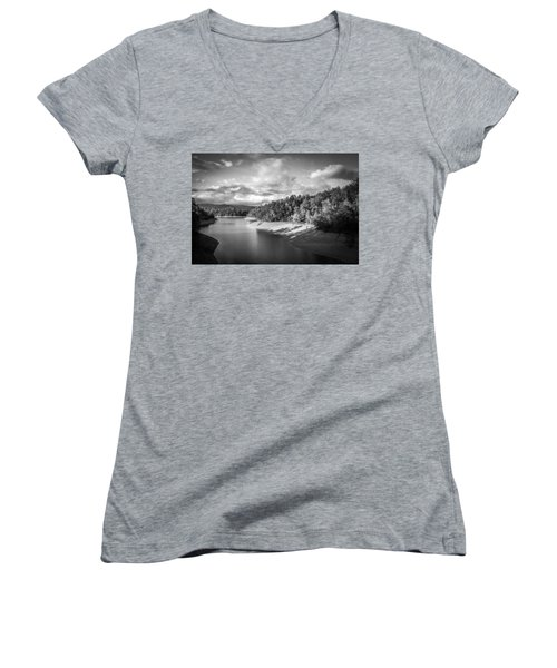 Low Sun Across The Nantahala River As The Clouds Clear Away Women's V-Neck