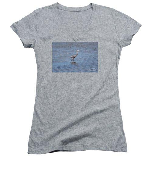 Women's V-Neck T-Shirt (Junior Cut) featuring the photograph Low Tide Stroll by Carol  Bradley