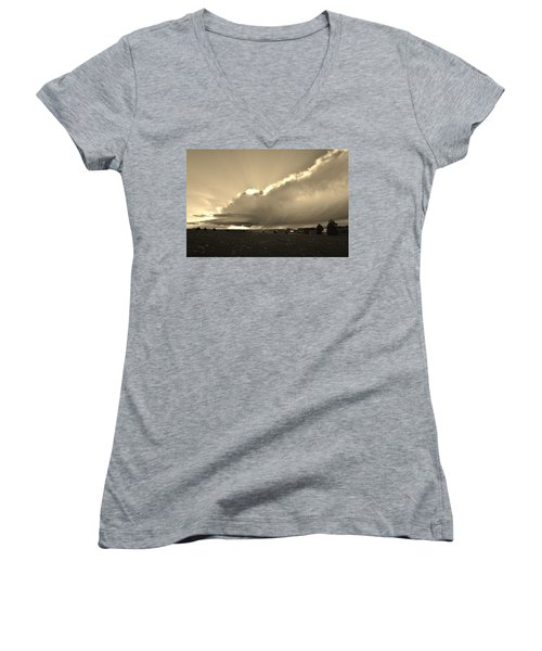Low-topped Supercell Black And White  Women's V-Neck (Athletic Fit)