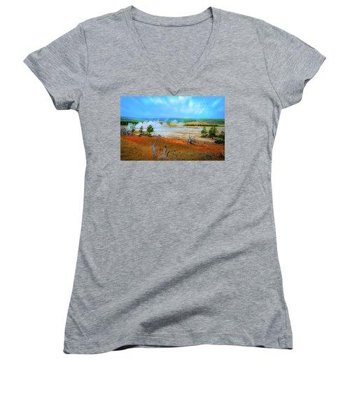 Lower Basin Women's V-Neck T-Shirt (Junior Cut) by Mark Dunton