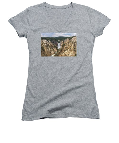 Lower Falls Of The Yellowstone Women's V-Neck T-Shirt