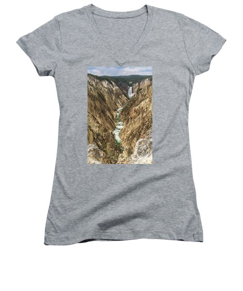 Lower Falls Of The Yellowstone - Portrait Women's V-Neck T-Shirt
