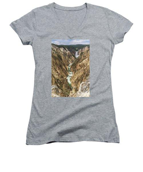 Lower Falls Of The Yellowstone - Portrait Women's V-Neck T-Shirt