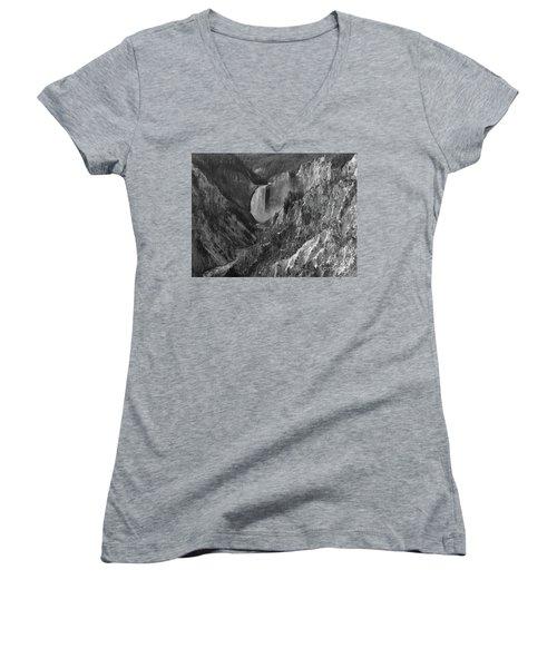 Lower Falls Women's V-Neck T-Shirt (Junior Cut) by Sheila Ping
