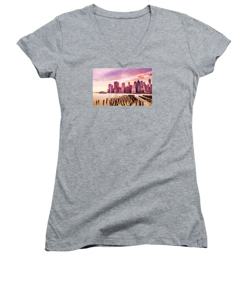 Lower Manhattan And Ferry Women's V-Neck T-Shirt