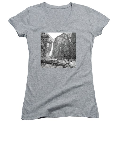 Lower Yosemite Falls In Black And White By Michael Tidwell Women's V-Neck