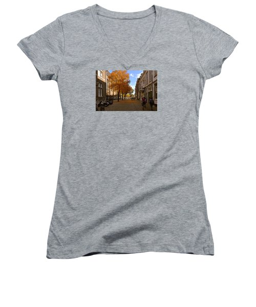 Women's V-Neck T-Shirt (Junior Cut) featuring the photograph Little Lady Mary Square In October Maastricht by Nop Briex