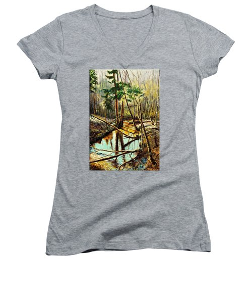 Women's V-Neck T-Shirt (Junior Cut) featuring the painting  Lubianka-1- River by Henryk Gorecki