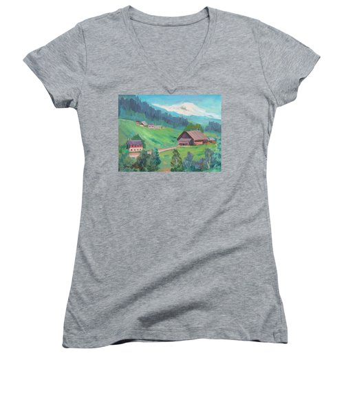 Women's V-Neck T-Shirt (Junior Cut) featuring the painting Lucerne Countryside by Diane McClary