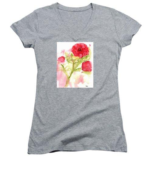 Lucky Rose Women's V-Neck T-Shirt (Junior Cut) by Sandy McIntire