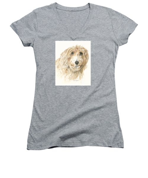 Women's V-Neck T-Shirt (Junior Cut) featuring the drawing Lucy by Meagan  Visser