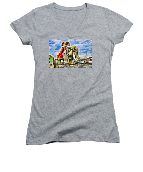 Lucy The Elephant 2 Women's V-Neck T-Shirt
