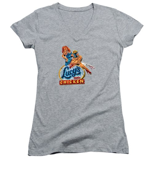 Lucys Fried Chicken Tee Women's V-Neck T-Shirt (Junior Cut) by Edward Fielding