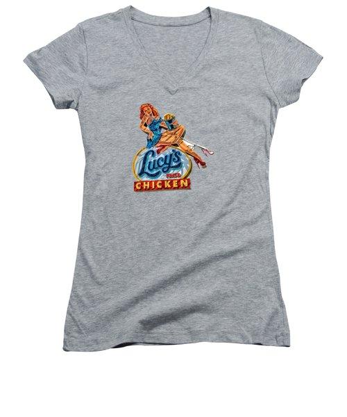 Lucys Fried Chicken Tee Women's V-Neck T-Shirt