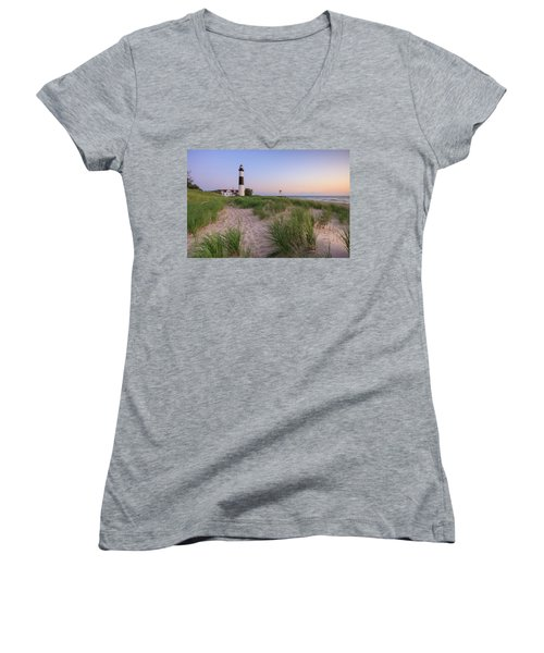 Women's V-Neck T-Shirt featuring the photograph Ludington Beach And Big Sable Point Lighthouse by Adam Romanowicz