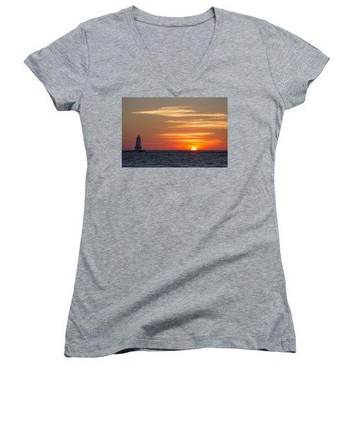 Women's V-Neck T-Shirt (Junior Cut) featuring the photograph Ludington North Breakwater Light At Sunset by Adam Romanowicz
