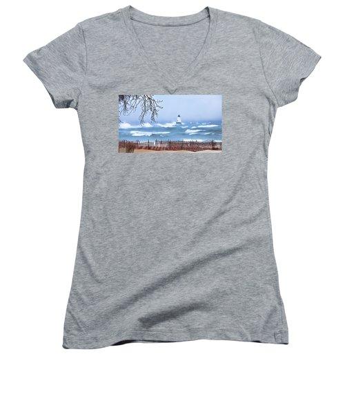 Ludington Winter Shore  Women's V-Neck T-Shirt (Junior Cut) by Dick Bourgault