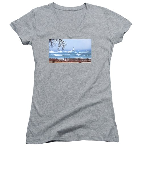 Ludington Winter Shore  Women's V-Neck T-Shirt