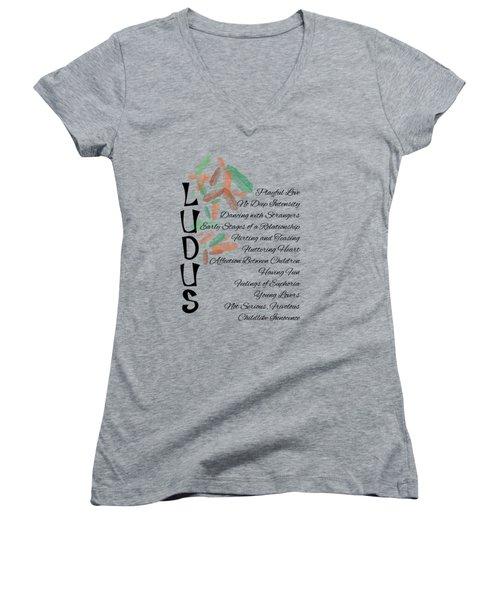 Ludus-playful Love. Women's V-Neck T-Shirt