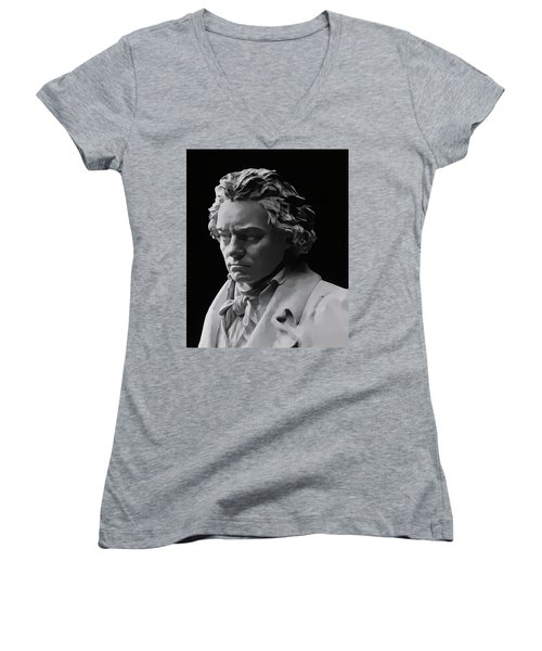 Women's V-Neck T-Shirt (Junior Cut) featuring the mixed media Ludwig Van Beethoven by Daniel Hagerman