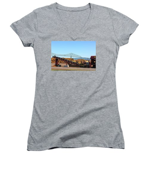 Lumber Mill Machinery In Rainier Oregon Women's V-Neck (Athletic Fit)