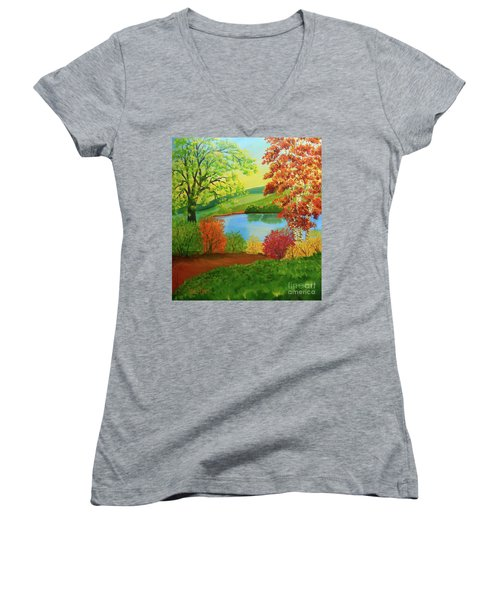Luminous Colors Of Fall Women's V-Neck (Athletic Fit)
