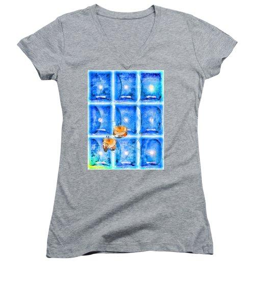 Women's V-Neck T-Shirt (Junior Cut) featuring the photograph Lunar Balance by Kathy Bassett