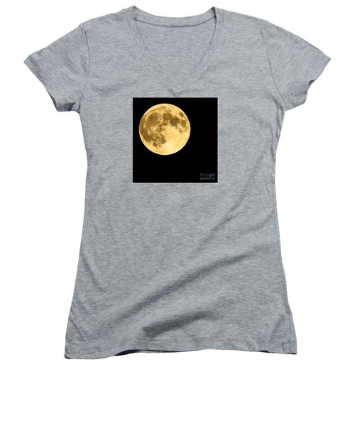 Lunar Close Up Women's V-Neck T-Shirt (Junior Cut) by Sandy Molinaro